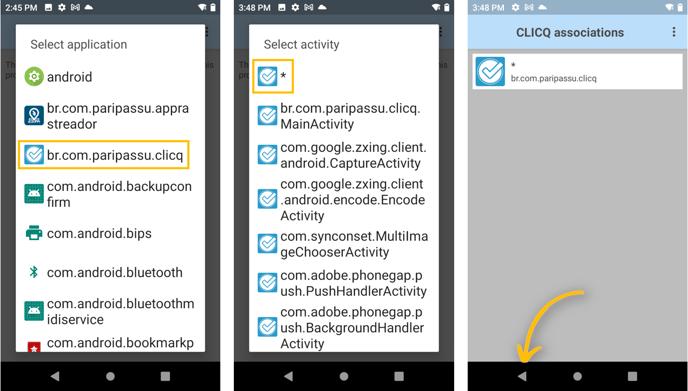 associação de apps ao CLICQ etapa 2