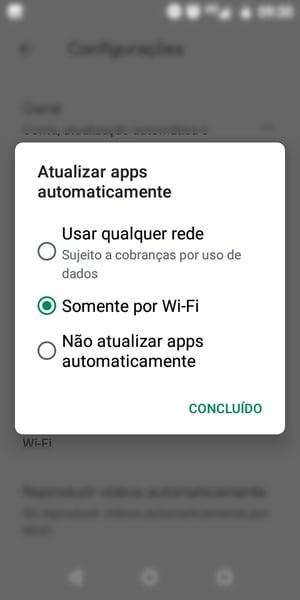 configuração de atualização somente por wi-fi