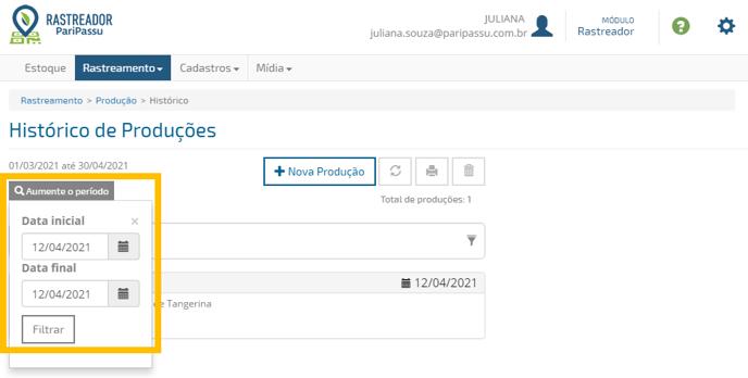 rastreador - histórico de produções - filtragem de data