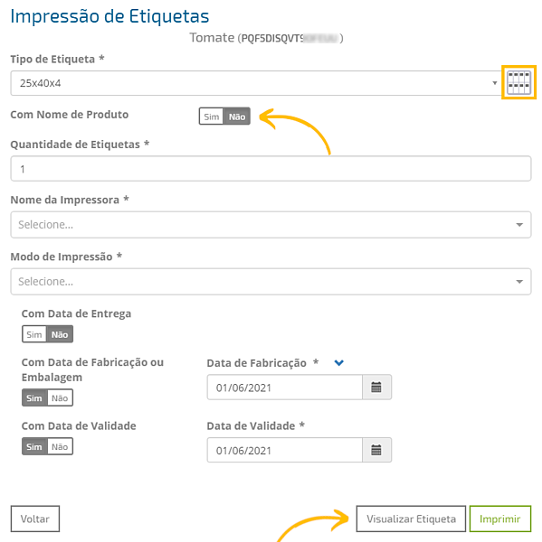 impressão de etiquetas_outras opções de configuração