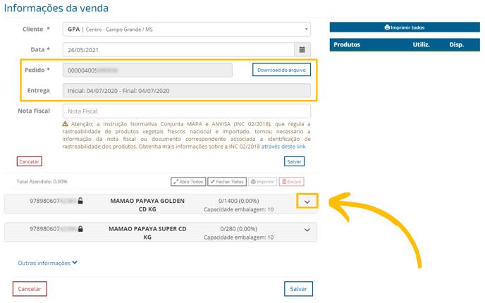 informações da venda_pedido importado