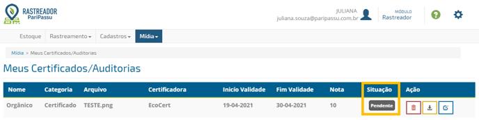 tela meus certificados/auditorias