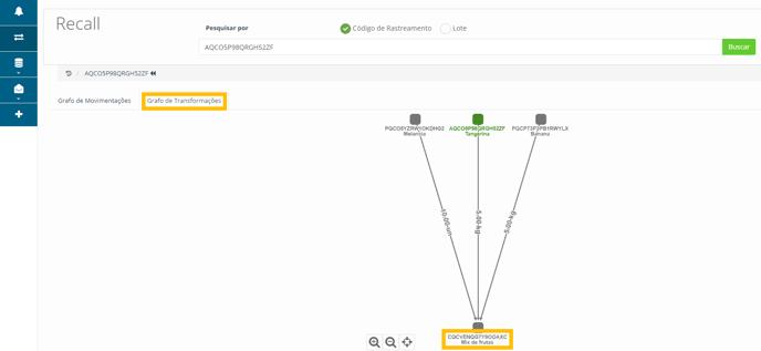 tela de rastreamentos - destaque para grafo de transformações