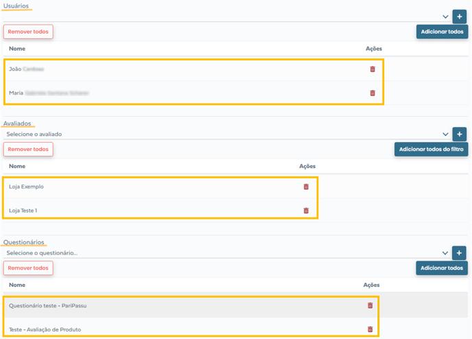 seleção de usuários, avaliados e questionários