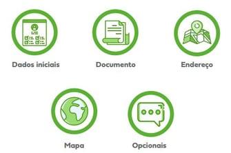 dados iniciais, documento, endereço, mapa, opcionais